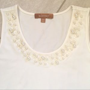 Ellen Tracy Pearl Embellished Stretch Ivory Tank